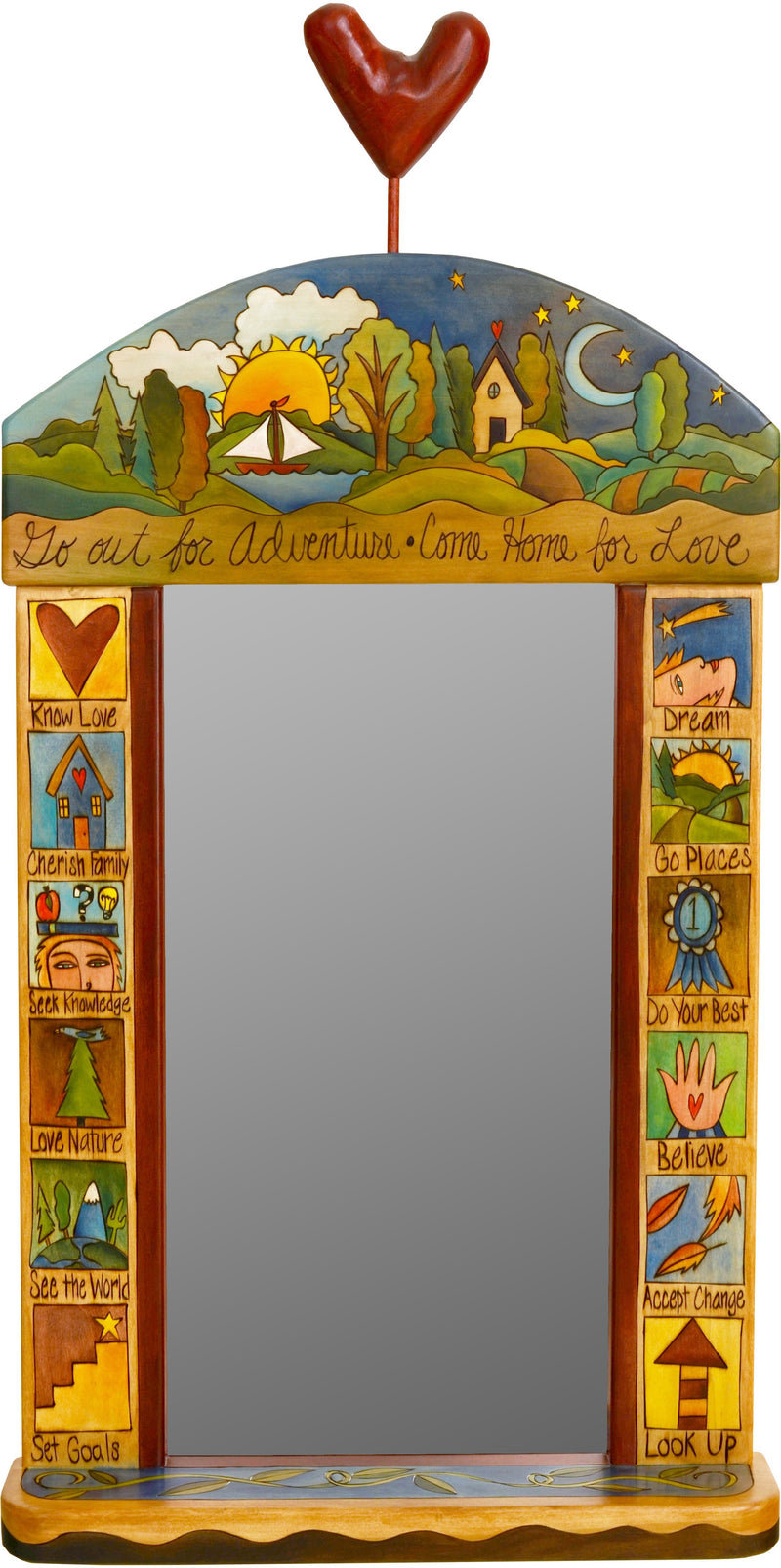 "Large Mirror –  ""Go out for Adventure/Come Home for Love"" mirror with sailboat and home motif"