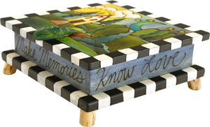 Keepsake Box – Beautiful cool-toned keepsake box with a landscape motif and leaf handle