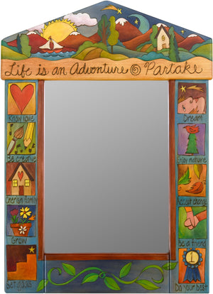 "Medium Mirror –  ""Life is an Adventure/Partake"" mirror with sun and moon over the mountains and lake motif"
