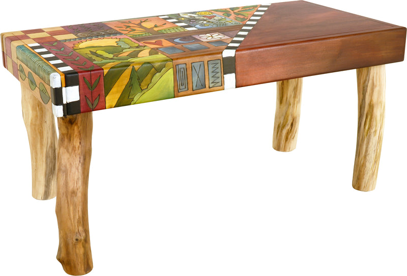 Sticks handmade 3' bench with colorful life icons
