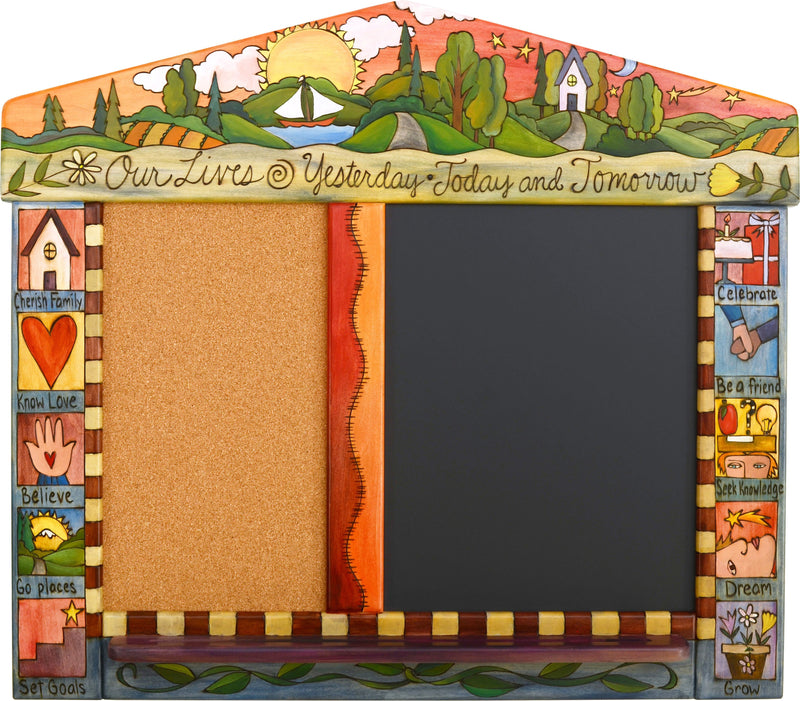 "Small Activity Board –  ""Our Lives"" activity board with bright sunny sky over the rolling hills motif"