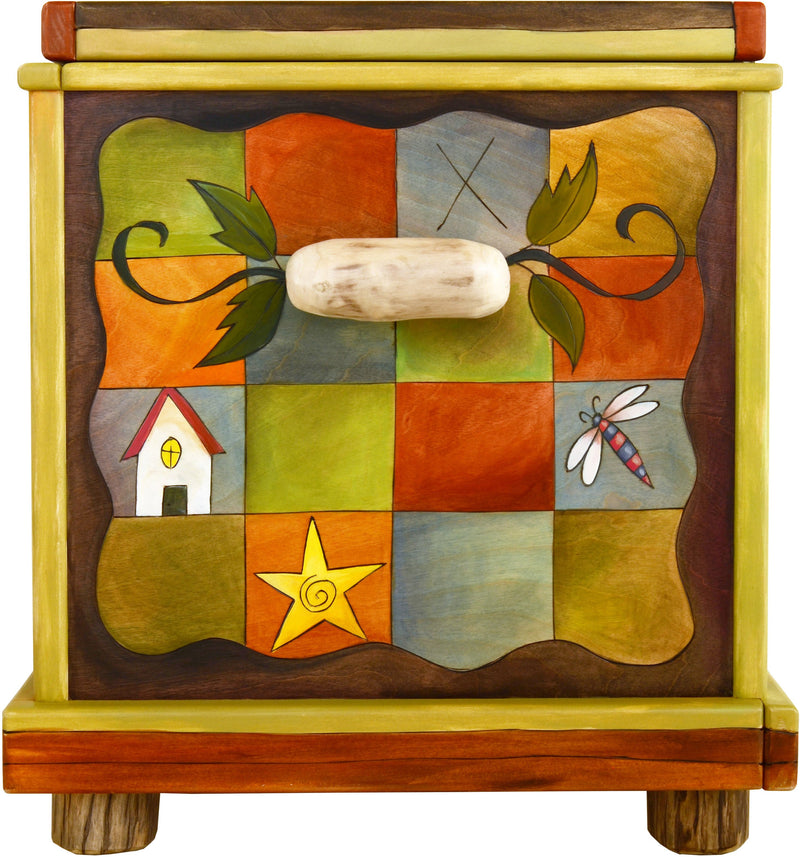 "Chest –  ""Treasures"" chest with sun and moon on the horizon motif"