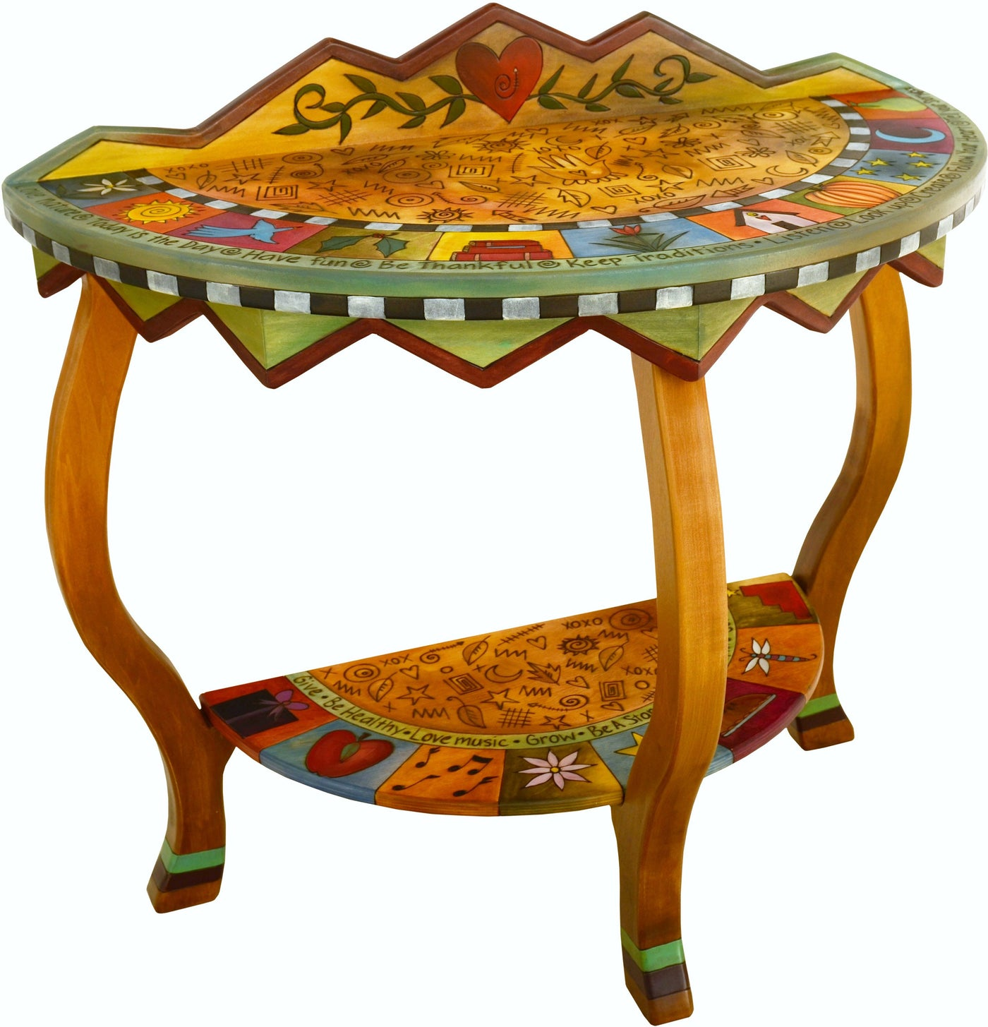Attractive Sticks Handmade Half Round Table