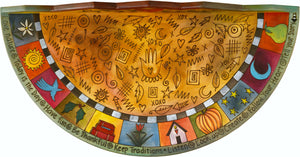 Small Half Round Table –  Colorful half round table with unique block icons and symbolic imagery