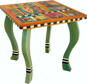 Large Square End Table –  Fun and vibrant end table with colorful block icons and patterns