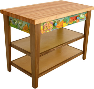 Kitchen Island –  Colorful kitchen island with meal and drink motifs and two drawers for storage