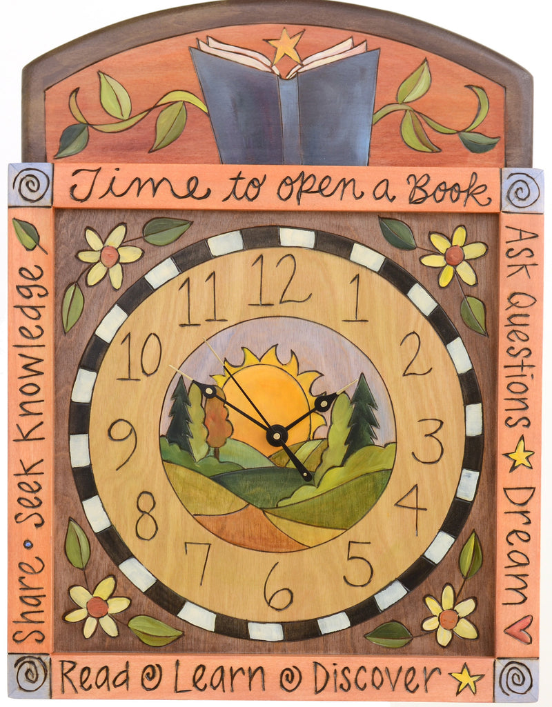 Square Wall Clock –  Lovely wall clock with sunrise landscape and floral motif with an open book at the top