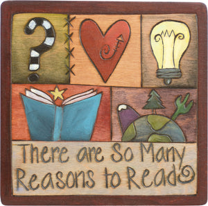 "7""x7"" Plaque –  ""There are so many reasons to read"" crazy quilt design"