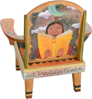 "Friedrich's Chair –  ""There are so Many Reasons to Read"" Friedrich's chair with girl reading under a starry night motif"