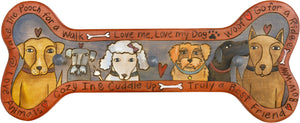 Horizontal Dog Leash Rack –  Bone shaped dog leash rack with many types of pups!
