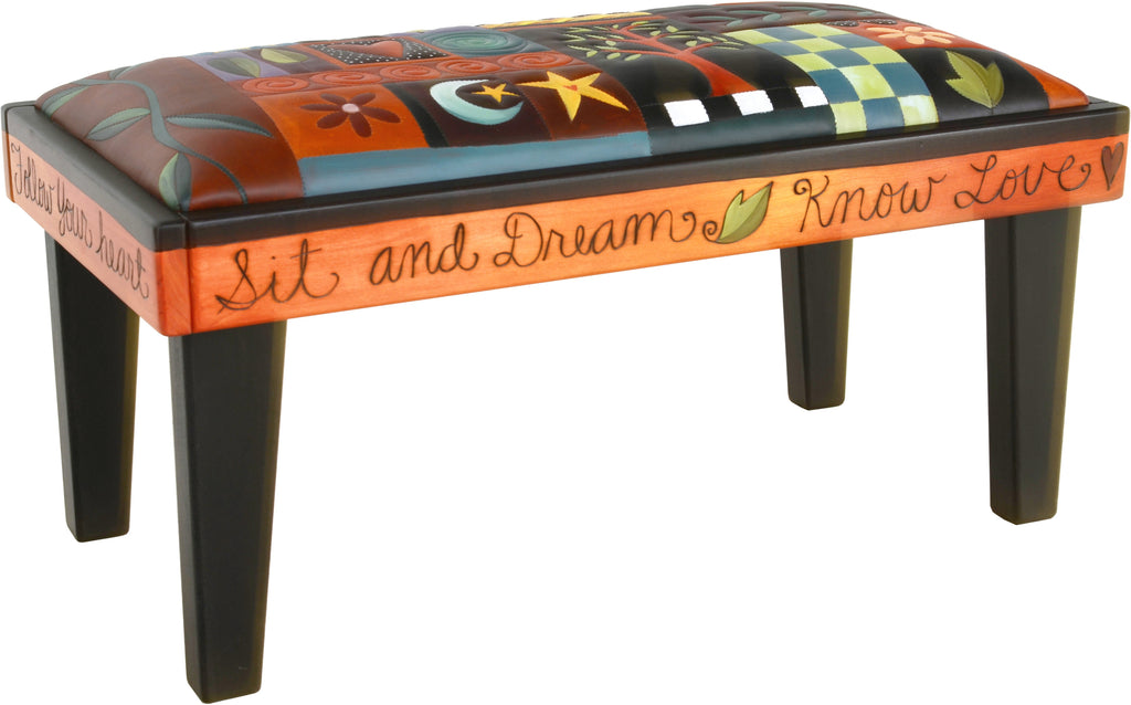 Sticks handmade 3' bench with leather and colorful crazy quilt design