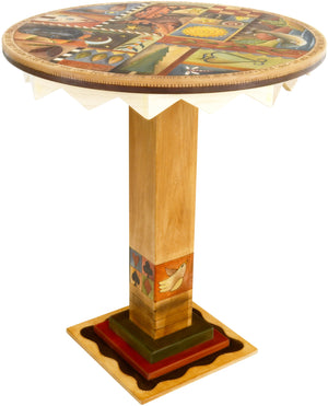 Sticks handmade dining table with colorful folk art imagery and western theme