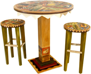 Sticks handmade dining table with colorful folk art imagery, western theme and matching stools