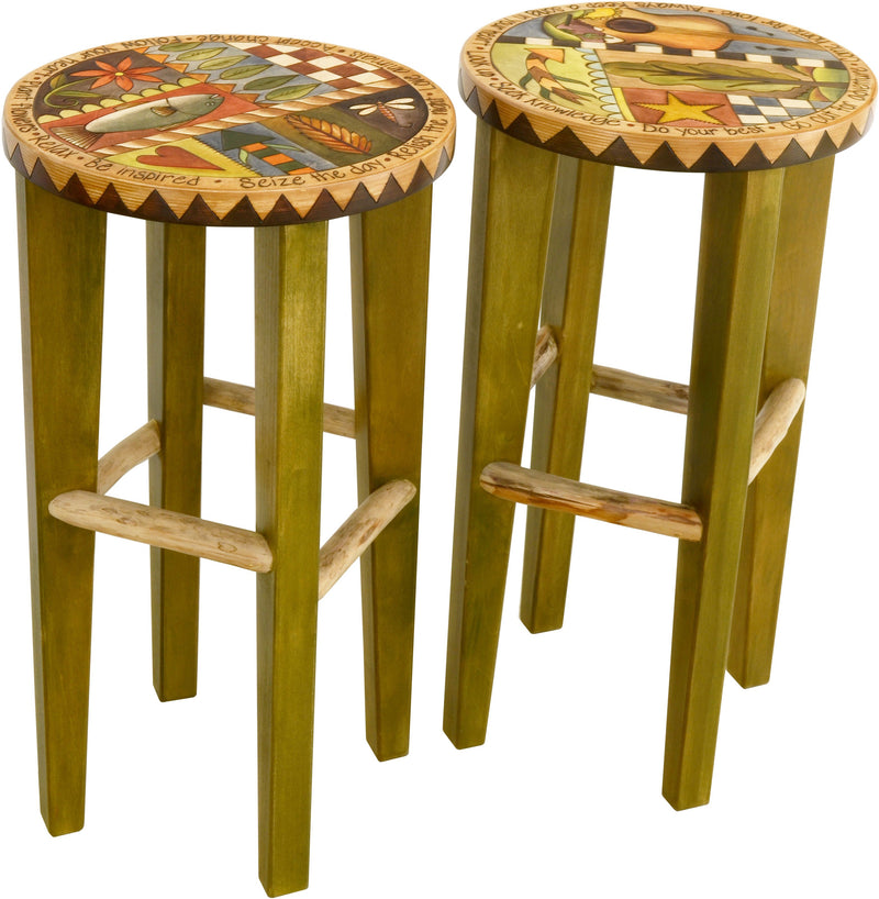 Sticks handmade stools with colorful folk art imagery and western theme
