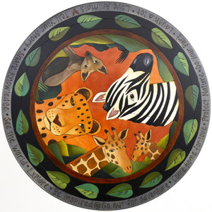 "Sticks Handmade 20"" lazy susan with african animals and leaf border"