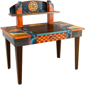 Desk with Shelf –  Eclectic folk art desk with colorful elements and shelf