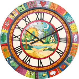 "Sticks handmade 36""D wall clock with bright, colorful beach motif"