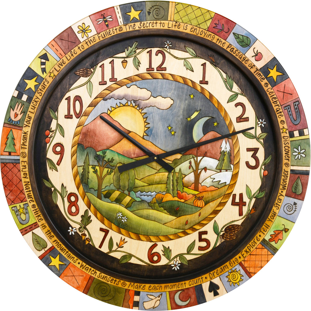 "Sticks handmade 36""D wall clock with rolling hills four seasons landscape"