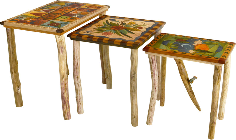 Sticks handmade nesting table set