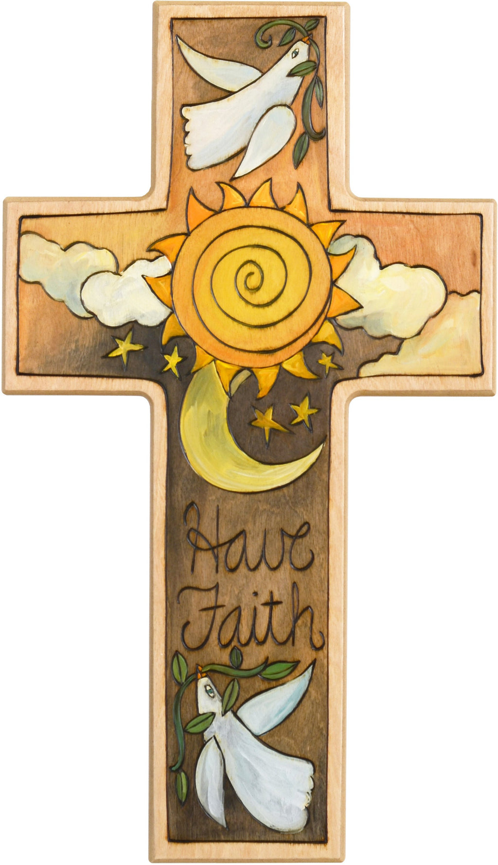 Cross Plaque –  Have Faith cross plaque with sun moon and dove motif