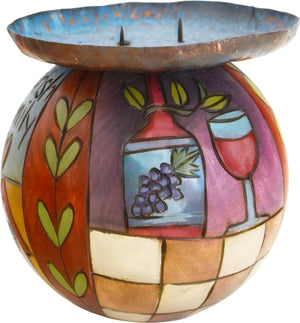 Ball Candle Holder –  Hand painted handle holder featuring colorful block icons