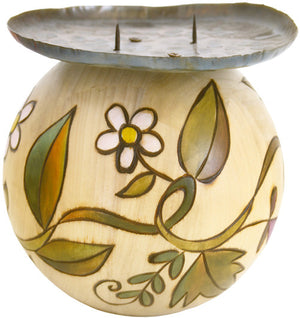 Sticks handmade candle holder with floral vine motif