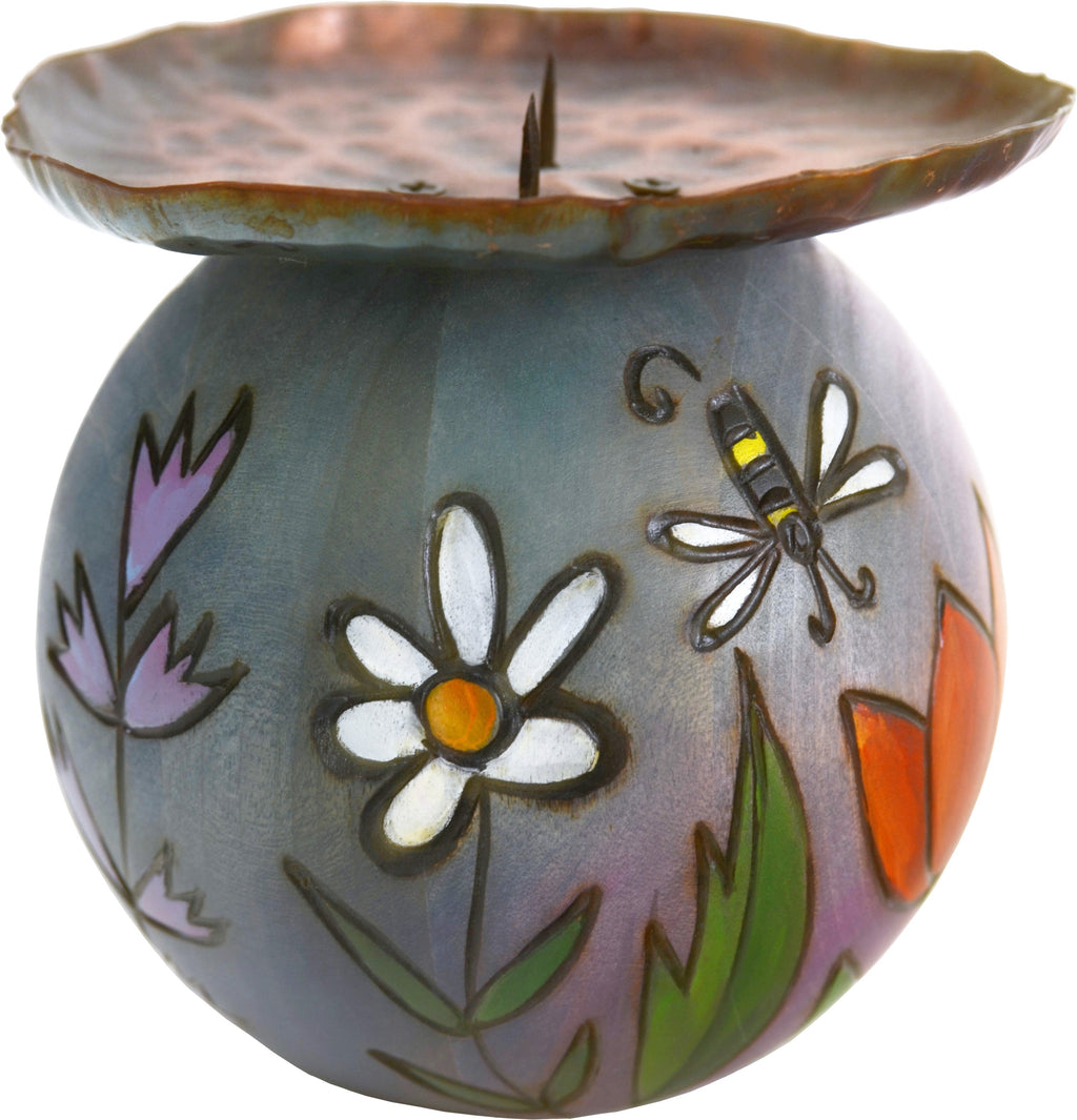 Ball Candle Holder –  Hand painted candle holder with floral motifs