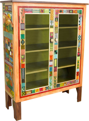Bookcase with Glass Doors –  Bookcase cabinet with interior shelves and colorful block icons and landscapes