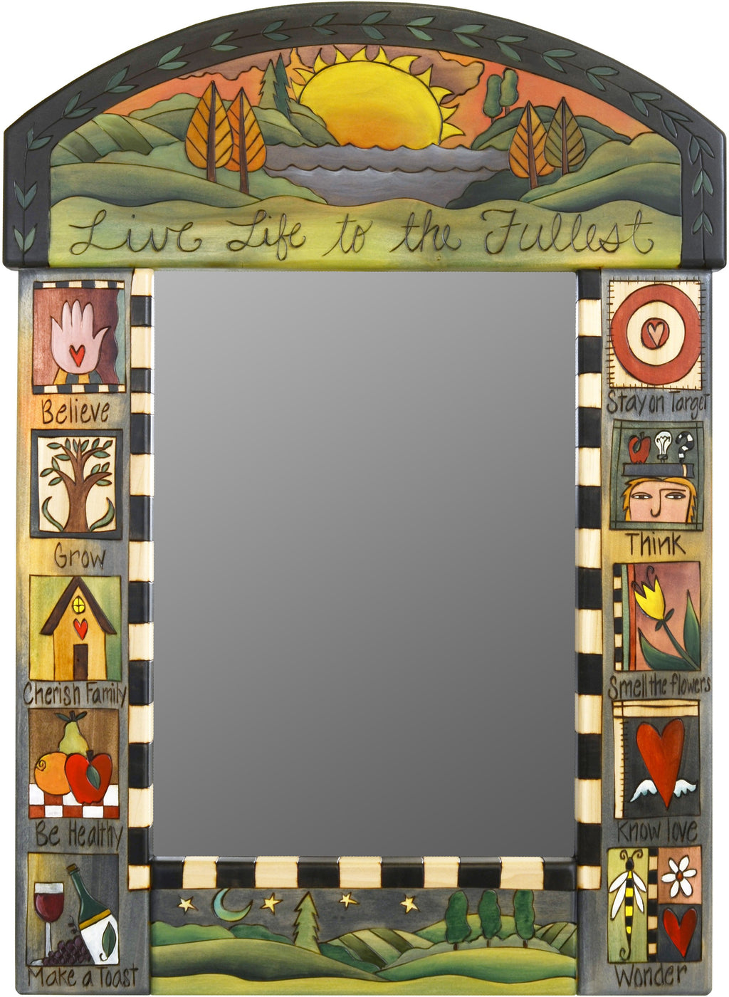 "Medium Mirror –  ""Live Life to the Fullest"" mirror with sunset on the lake motif"