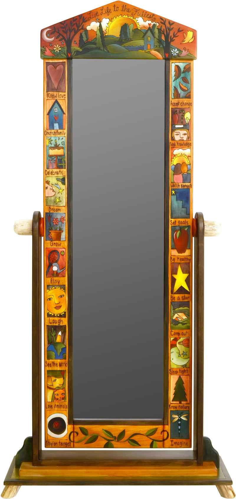 "Wardrobe Mirror on Stand –  ""Live Life to the Fullest"" mirror on stand with sun and moon over beautiful rolling hills motif"