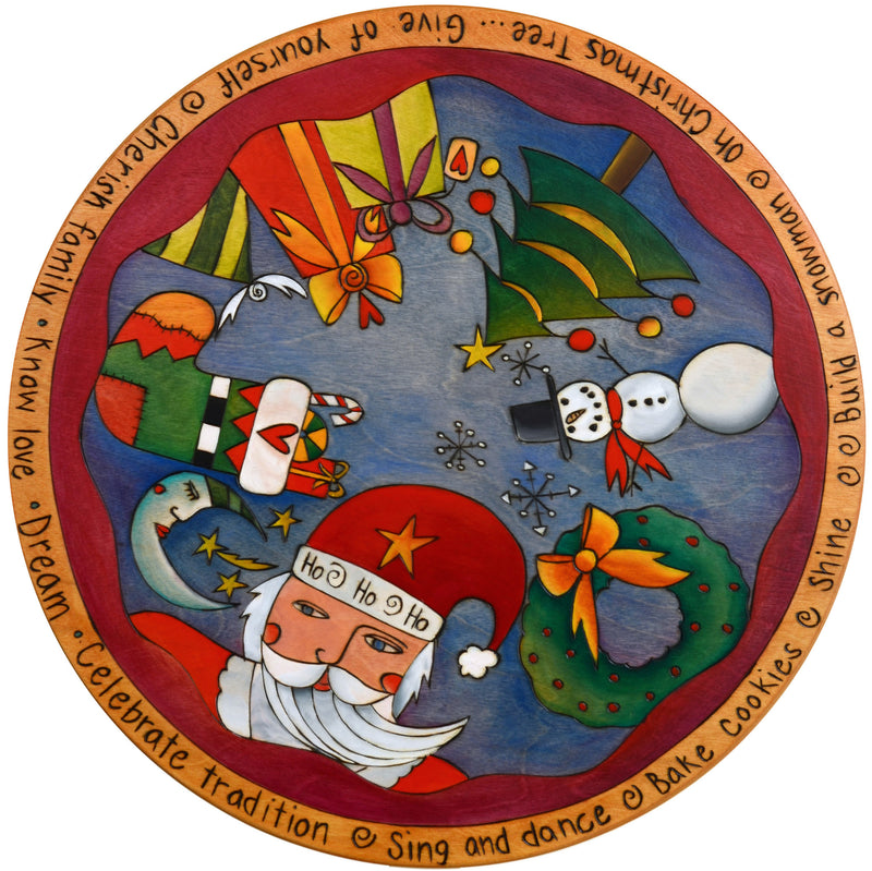 "Sticks Handmade 20""D lazy susan with Santa and Christmas icons and imagery"
