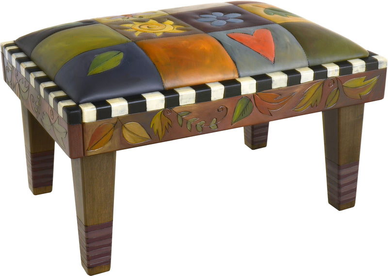 Ottoman –  Elegant hand painted leather ottoman with colorful block icons