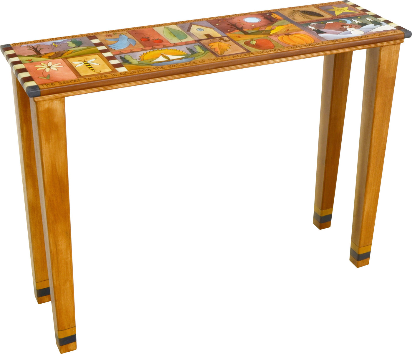 Attirant Sticks Handmade Console Table With Colorful Life Icons ...