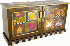 Medium Buffet –  Beautiful two door buffet featuring a landscape and patchwork designs with leaves scattered about main view