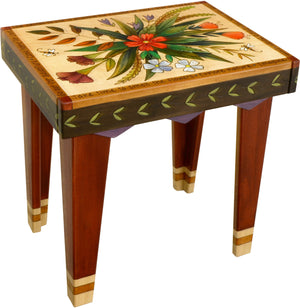 Rectangular End Table –  Beautiful end table with rich hues and floral motifs