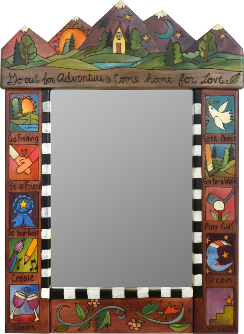 "Medium Mirror –  ""Go Out for Adventure/Come Home for Love"" mirror with sun and moon over a cozy home on the rolling hills"