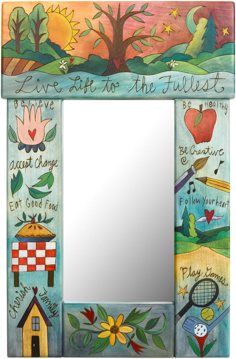 "Small Mirror –  ""Live Life to the Fullest"" mirror with sun and moon over the tree of life motif"