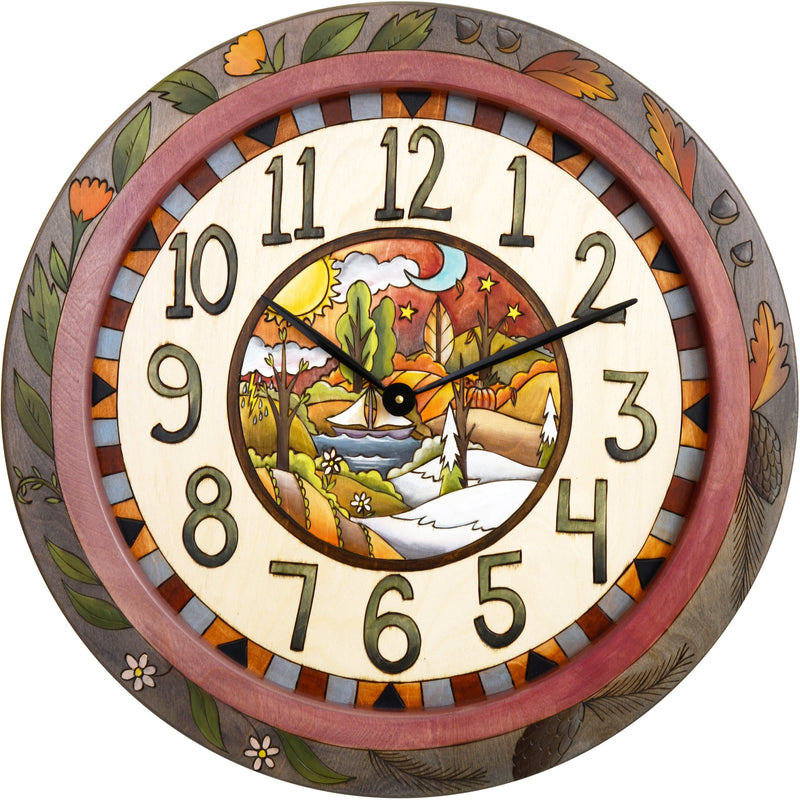 "Sticks handmade 24""D wall clock"