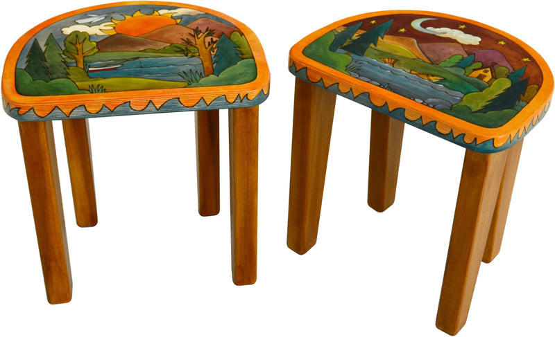 Short Stool Set –  Stool set with sun and moon over a beautiful mountain range motif
