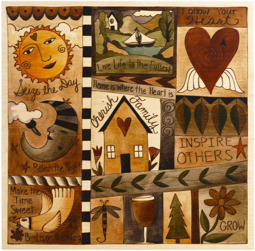Sticks handmade wall plaque with quilt design in neutral hues