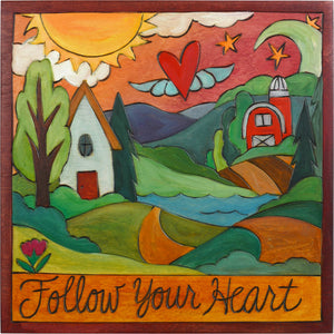 "10""x10"" Plaque –  ""Follow your heart"" home farm landscape motif"