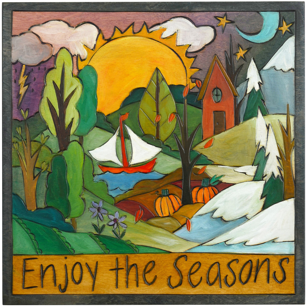 "Sticks handmade wall plaque with ""Enjoy the Seasons"" quote and four seasons landscape"