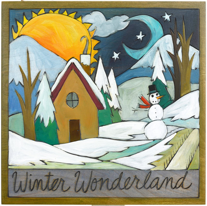"Sticks handmade wall plaque with ""Winter Wonderland"" quote and snowy mountain landscape"