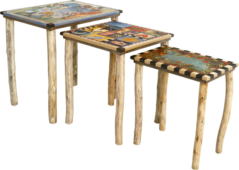 Nesting Table Set –  Natural nesting table set with organic birch legs and soft tones