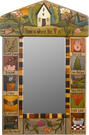 "Small Mirror –  ""Home is Where the Heart is"" mirror with sun setting over a cozy home in the woods motif"