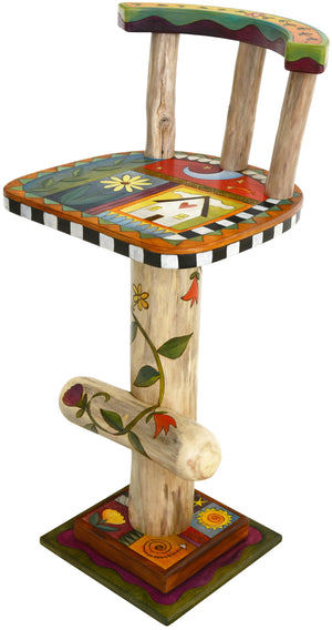 Stool with Back –  Beautiful crazy quilt stool seat and base designs with lovely floral vine on the log pedestal main view