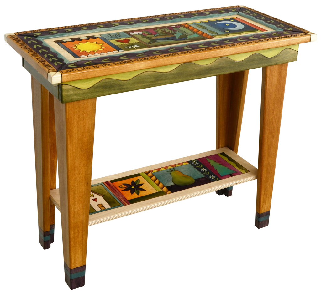 Sticks handmade sofa table with colorful life icons