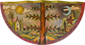 Small Half Round Table –  Eclectic little half round table with tree of life motif, rolling landscape, and sun and moon