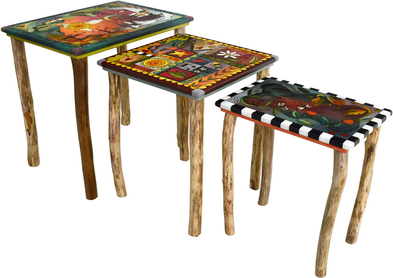 Nesting Table Set –  Elegant nesting table set with darker hues, birch legs and four seasons symbology