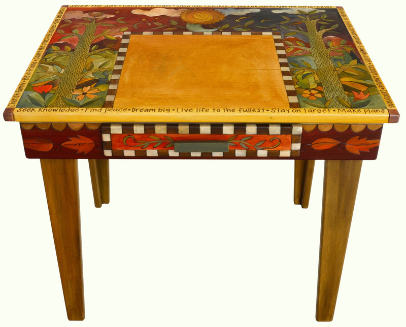 "Deep Desk –  ""Seek Knowledge/Find Peace/Dream Big"" deep desk with day and night nature motif"